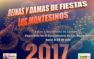 REINAS Y DAMAS DE LAS FIESTAS DE LOS MONTESINOS 2017