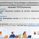 Apúntate al Programa Et Formem 'Forma-Emplea Los Montesinos 2020' (personas desempleadas)