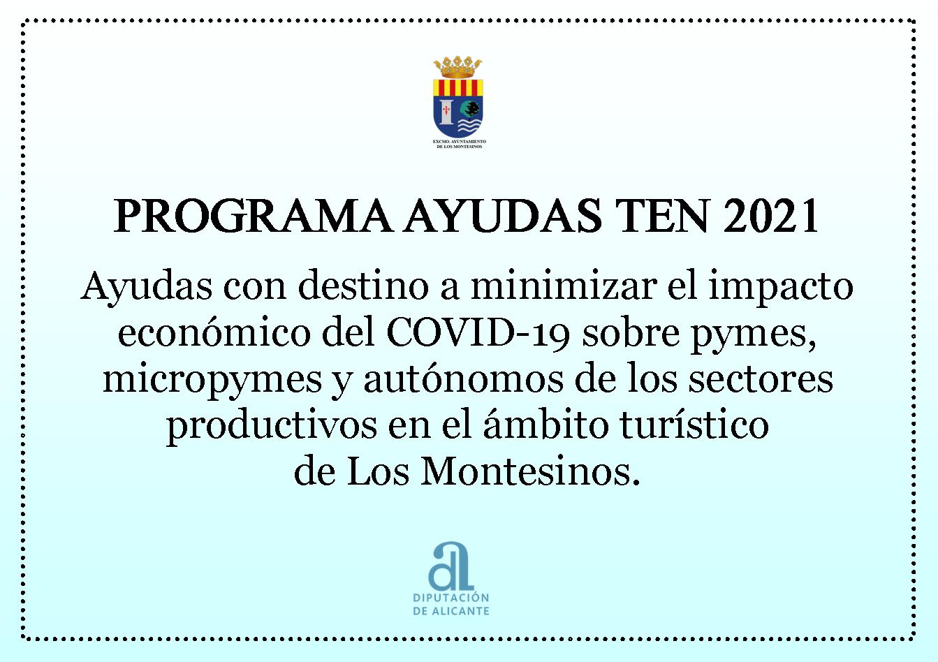 Abierto plazo solicitud AYUDAS TEN 2021 (empresas y autónomos sectores productivos de ámbito turístico)